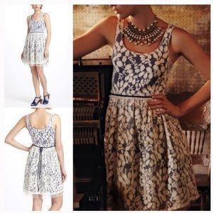 Anthropologie White Lace Plaid Dress